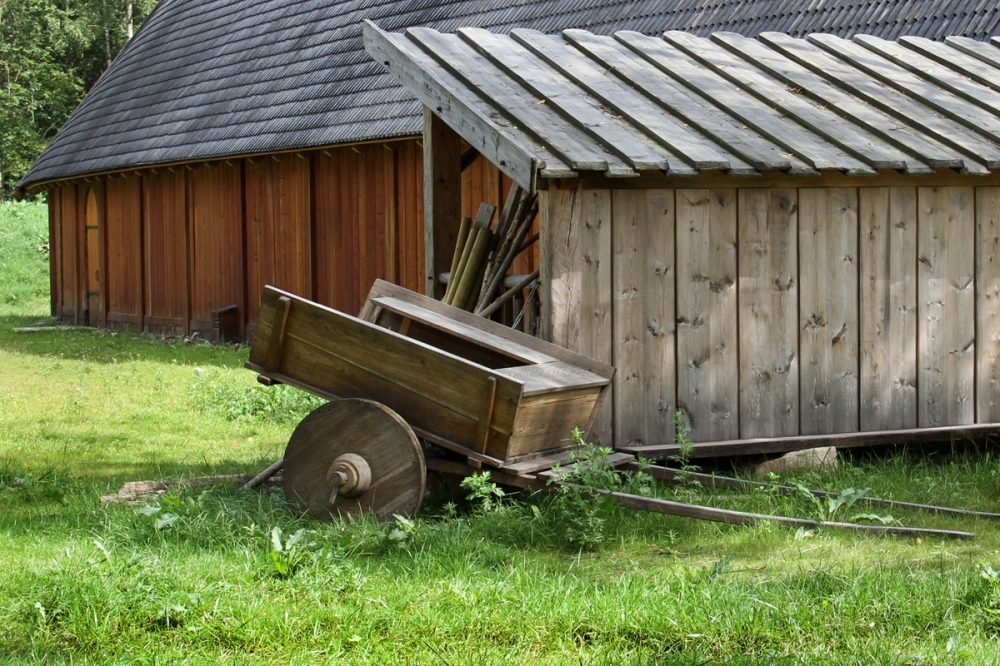 Horse Cart by the Shed