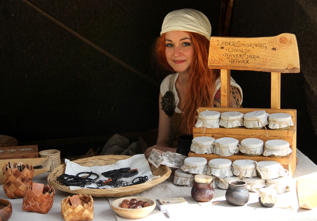 Woman Selling Leather Wax
